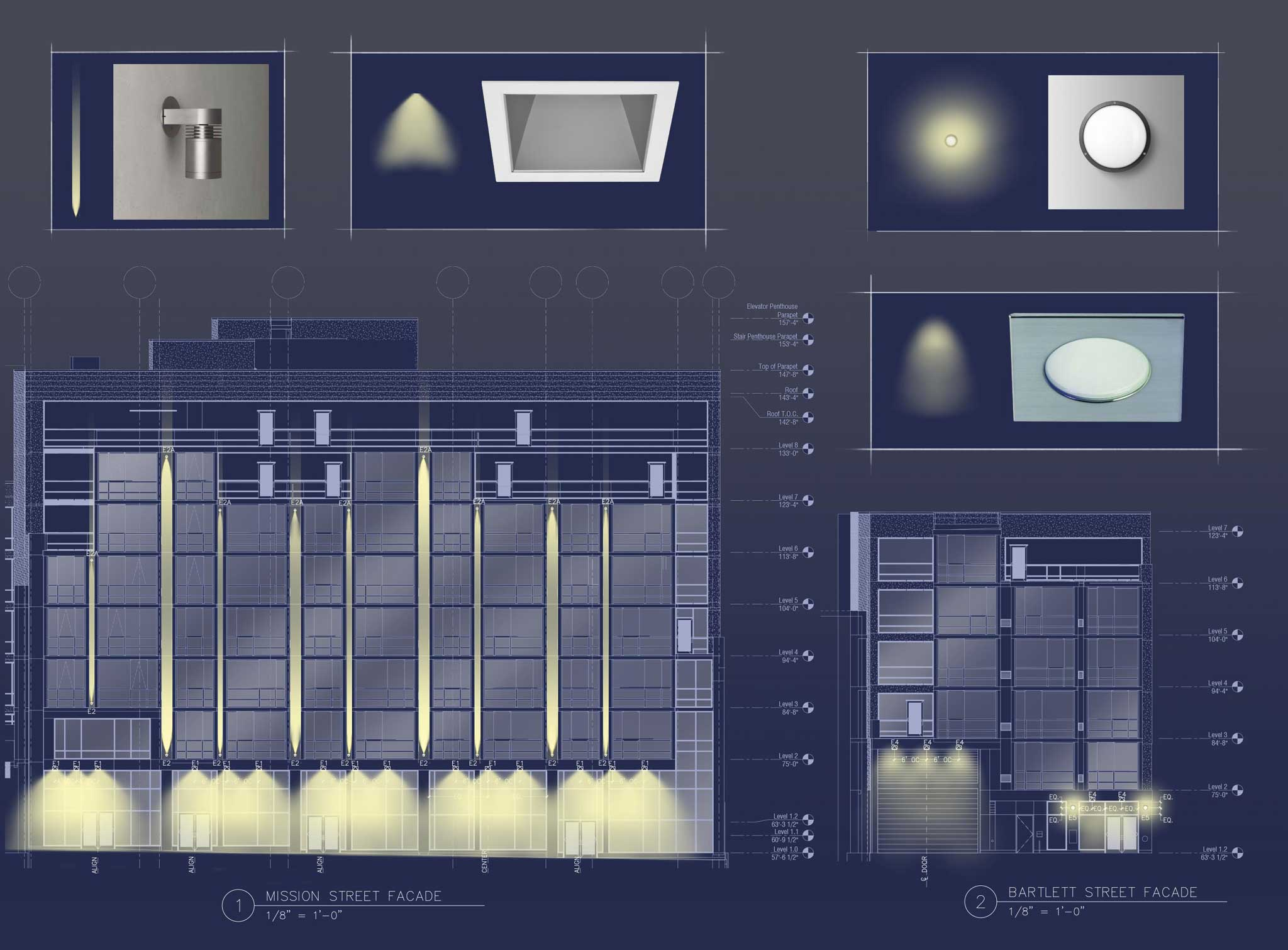 Facade lighting design for multifamily residential