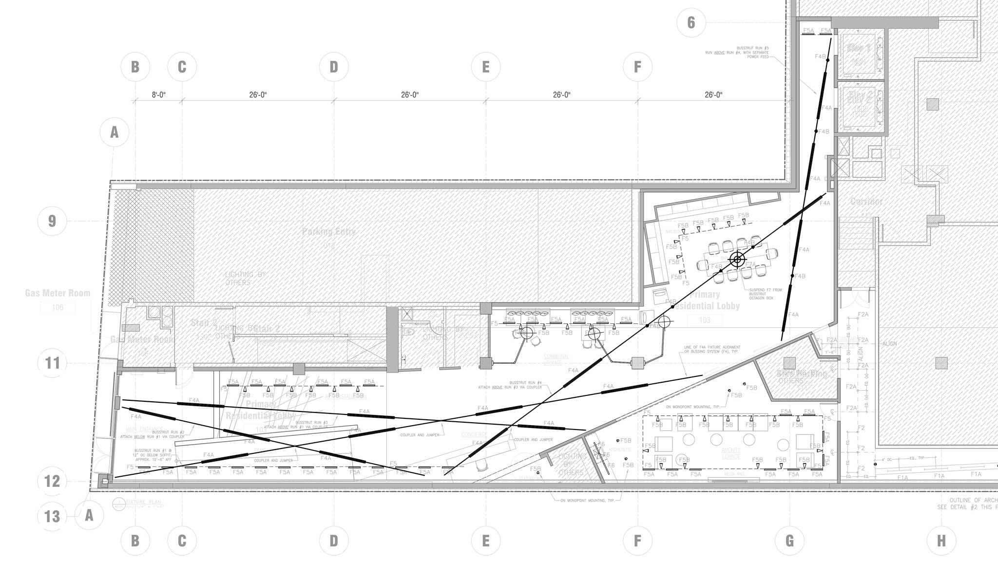 Vida SF lobby lighting design layout